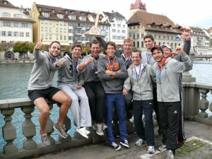 The triumphant Swiss 8+, enjoying the celebrations in Lucerne